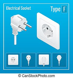 Isometric Switches and sockets set. Type F. Realistic vector illustration.