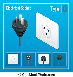 Isometric Switches and sockets set. Type I. AC power sockets realistic illustration. Power outlet and socket isolated. Plug socket.