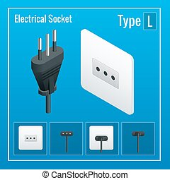 Isometric Switches and sockets set. Type L. AC power sockets realistic illustration. Power outlet and socket isolated. Plug socket.