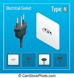 Isometric Switches and sockets set. Type N. AC power sockets realistic illustration. Power outlet and socket isolated. Plug socket.