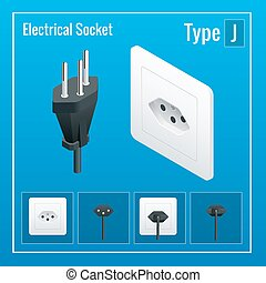 Isometric Switches and sockets set. Type J. AC power sockets realistic illustration. Power outlet and socket isolated. Plug socket.