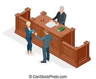 Isometric symbol of law and justice in the courtroom. Vector...