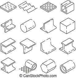 Isometric symbols of metallurgy. Pictures of iron and steel tools. Vector illustration in linear style