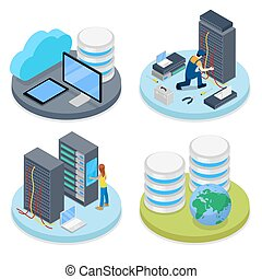 Isometric System Administrator. Server Room. Data Storage. ...