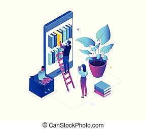 isometric, színes, modern, -, ábra, vektor, online, felolvasás