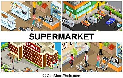 isometric, színes, zenemű, élelmiszer áruház