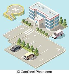 isometric, szpital, parking, wektor, ambulans, 3d