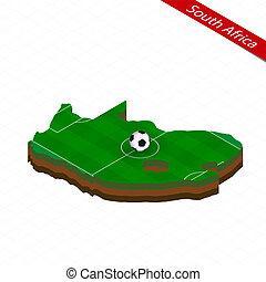isometric, térkép, közül, dél-afrika, noha, futball, field., foci labda, alatt, középcsatár, közül, labdarúgás, pitch.