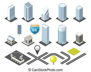 isometric, térkép, toolkit, belvárosi