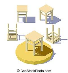 isometric, taboret, niski, poly