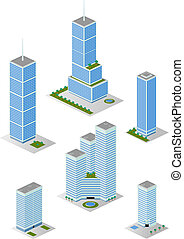 Isometric Tall City Office Buildings Pack 2 - A vector...
