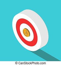 Isometric target, dollar coin