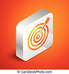 Isometric Target with arrow icon isolated on orange background. Dart board sign. Archery board icon. Dartboard sign. Business goal concept. Silver square button. Vector Illustration
