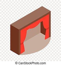 isometric, teatro, cortina, ícone, vermelho, fase
