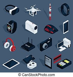 Isometric Technology Devices Set - Isometric technology...