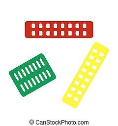 isometric, teken., medisch, stijl, geel groen, icon., pillen, rood
