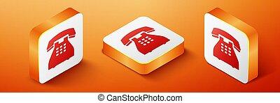 Isometric Telephone icon isolated on orange background. Landline phone. Orange square button. Vector