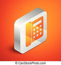 Isometric Telephone icon isolated on orange background. Landline phone. Silver square button. Vector Illustration