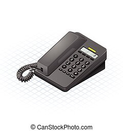 Isometric Telephone Vector Illustra