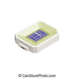 isometric, tenis, 3d, stadion, ikona