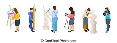 isometric, tervező, vector., emberek, videographer, elszigetelt, kreatív, művész, háttér, fehér, szobrász