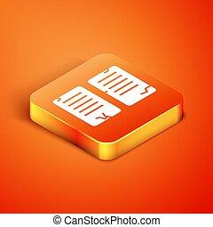 Isometric The commandments icon isolated on orange background. Gods law concept. Vector Illustration