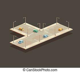 Three-way intersection - isometric Three-way intersection. ...