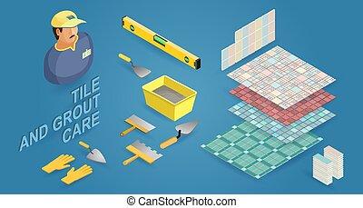 Isometric tiler, instruments and tile. Builder, tiled floor ...