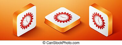 Isometric Time Management icon isolated on orange background. Clock and gear sign. Productivity symbol. Orange square button. Vector