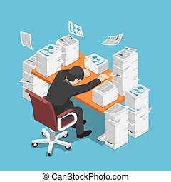 Isometric tired businessman asleep at office desk with the pile of paper document