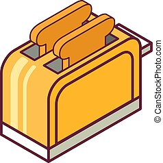 Isometric toaster with bread. Kitchen equipment. Household appliances.