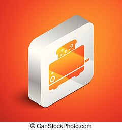 Isometric Toaster with toasts icon isolated on orange background. Silver square button. Vector Illustration