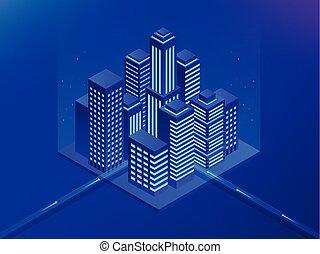 isometric, toekomst, city., vastgoed, en, bouwsector, concept., feitelijk, reality., vector, illustration.