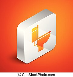Isometric Toilet bowl icon isolated on orange background. Silver square button. Vector Illustration