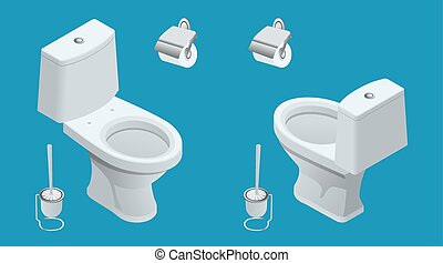 Isometric Toilet equipment collection for interior design. Set of different toilet sinks types. Vector illustration