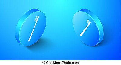 Isometric Toothbrush icon isolated on blue background. Blue circle button. Vector