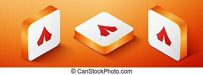 Isometric Tourist tent icon isolated on orange background. Orange square button. Vector