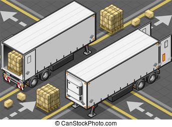 isometric tow frigo truck - Detailed illustration of a...