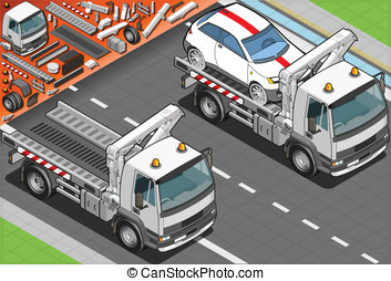 Isometric Tow Truck in Car Assistance - detailed...