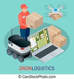 isometric, towary, city., concept., techniczny, mocna dostawa, truteń, wysyłka, innowacja, autonomiczny, logistics.