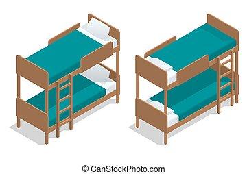 isometric, trä, brits, läger, vardagsrum, säng, två, separately, bakgrund., vektor, beds., two-storeyed, cabin., vit, hostel