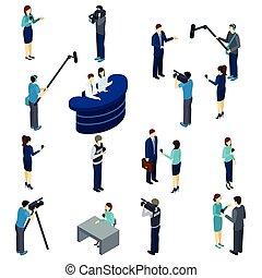 isometric, trabalho, jogo, jornalista, ícones