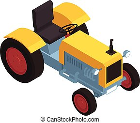 Isometric 3d yellow tractor on white background 3d vector illustration