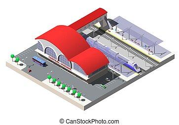 isometric, train., ilustração, plataformas, vetorial, estação, estrada ferro, predios