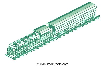 Isometric Train Locomotive. Vector Illustration. Outline Cargo Train Isolated on White.