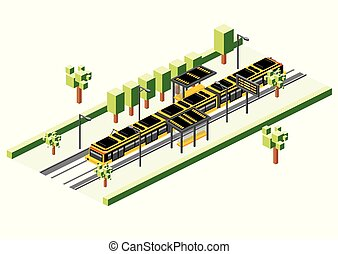 Isometric Tram Station Isolated on White. Railway Electric ...