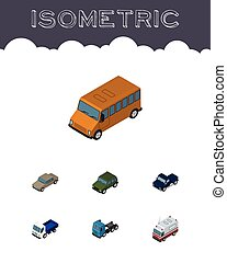 Isometric Transport Set Of Lorry, Armored, Truck And Other Vector Objects. Also Includes Pickup, Bus, Truck Elements.