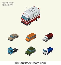 Isometric Transport Set Of Lorry, Autobus, Freight And Other Vector Objects. Also Includes Car, Freight, Bus Elements.