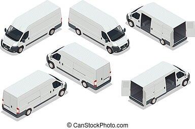 isometric, transporte, ilustração, entrega, carruagem, vetorial, carro., furgão, caminhão, cargo.