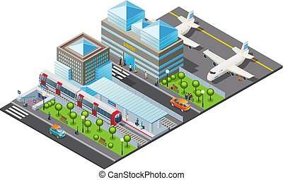 isometric, transporte público, modelo